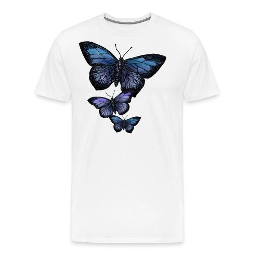 Schmetterling Tier Vintage Fliegen Blumen Retro - Männer Premium T-Shirt