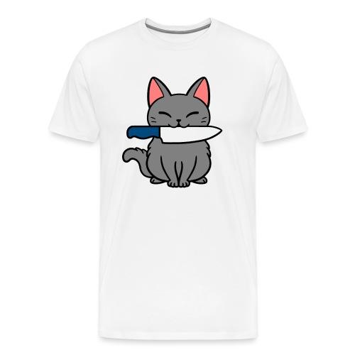 Fröhliche Katze mit Messer - Männer Premium T-Shirt