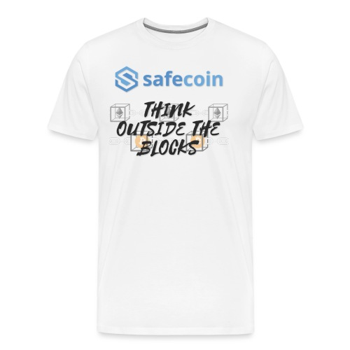 SafeCoin; Think Outside the Blocks (black + blue) - Men's Premium T-Shirt