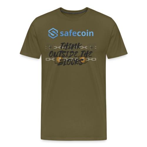 SafeCoin; Think Outside the Blocks (black + blue) - Men's Premium T-Shirt