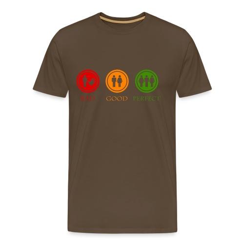 Bad good perfect - Threesome (adult humor) - Mannen Premium T-shirt