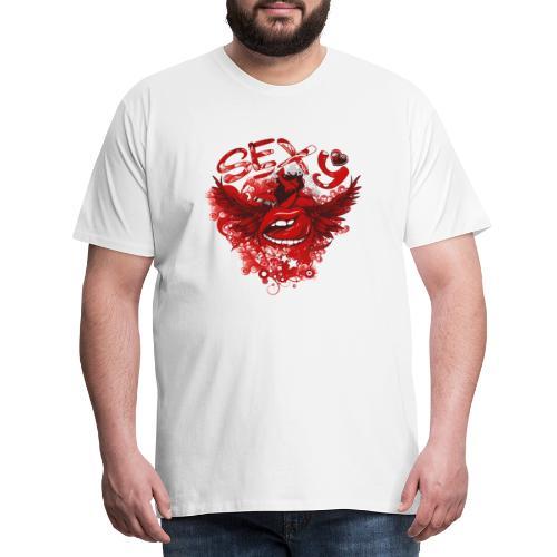 SEXY Lips heart Wings - Sexy Lippen Herz Flügel - Männer Premium T-Shirt