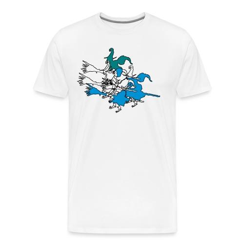 Witches on broomsticks Men's T-Shirt - Men's Premium T-Shirt