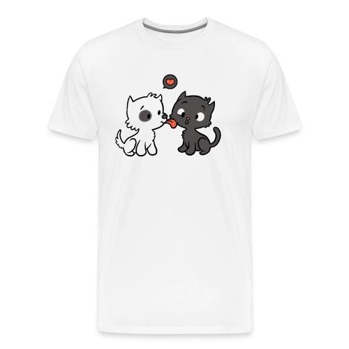 Hund liebt Katze - Männer Premium T-Shirt