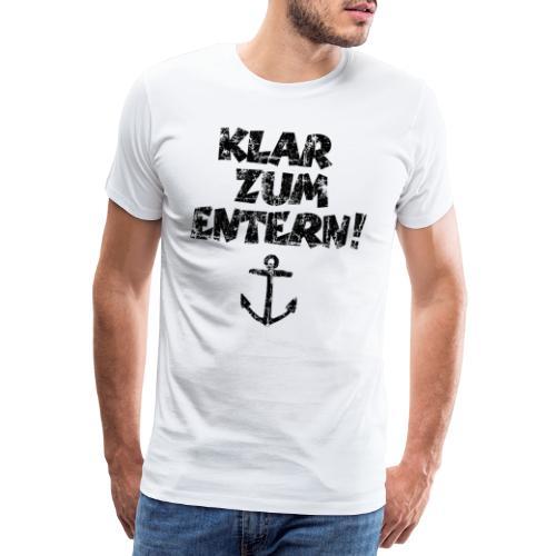 Klar zum Entern Segel Segeln (Vintage/Schwarz) - Männer Premium T-Shirt