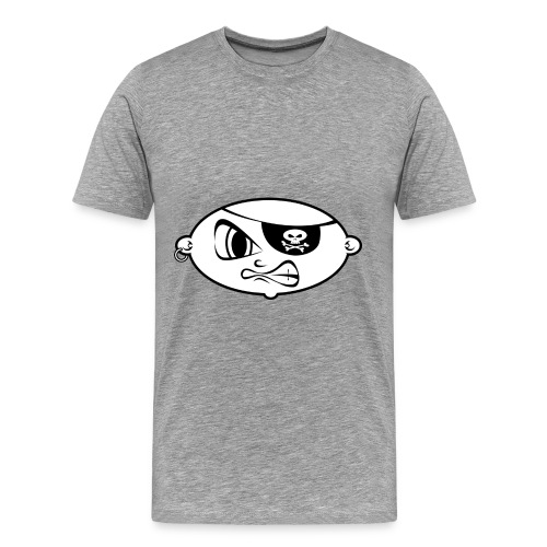 pirate clipart black and white mean pirate kid bl - Mannen Premium T-shirt