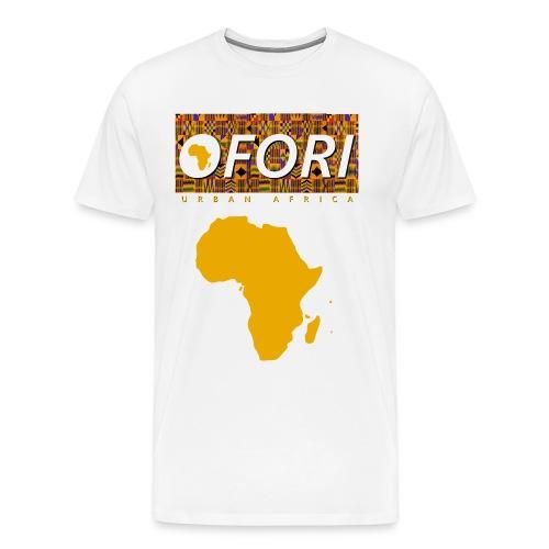 OFORI Kente logo EXTENDED transparent fiitted png - Men's Premium T-Shirt
