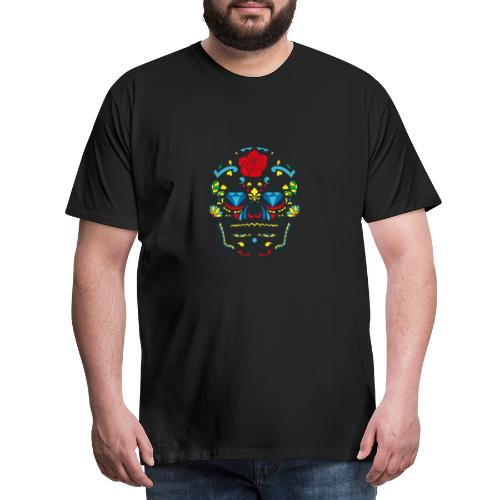Rose und Diamantschädel - Männer Premium T-Shirt
