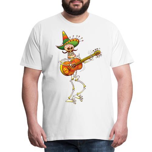 Mexican Skeleton Playing Guitar - Men's Premium T-Shirt