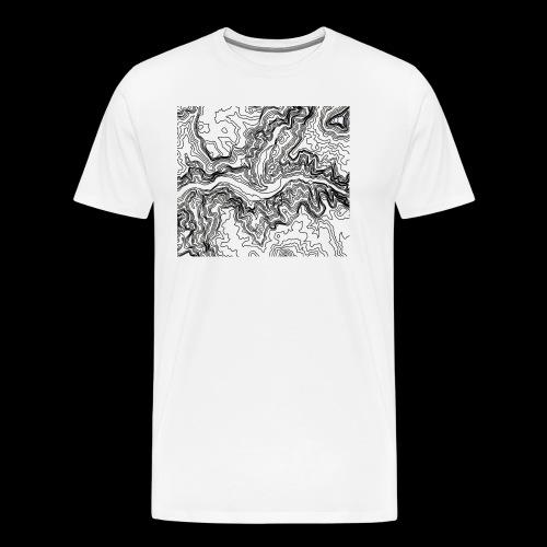 Hoehenlinien schwarz - Männer Premium T-Shirt
