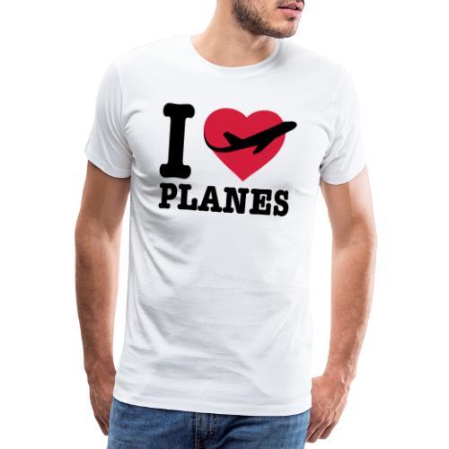 Rakastan lentokoneita - mustaa - Miesten premium t-paita