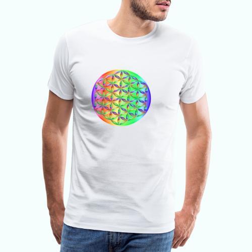 Blume des Lebens Regenbogen 3D - Männer Premium T-Shirt