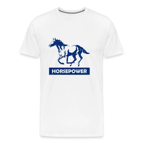 Galoppierendes Pferd Horsepower (Blau) - Männer Premium T-Shirt