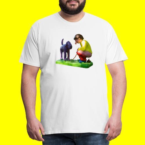 Mannetje Poep vrijstaand - Mannen Premium T-shirt