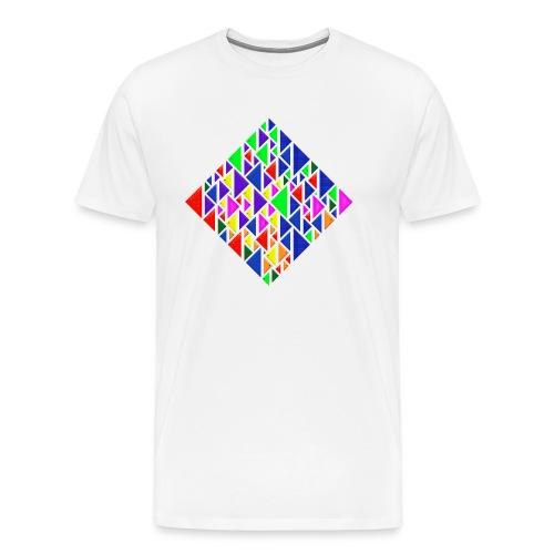 A square school of triangular coloured fish - Men's Premium T-Shirt