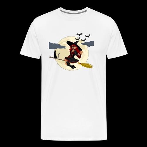 Halloween- Hexe auf Besen - Männer Premium T-Shirt