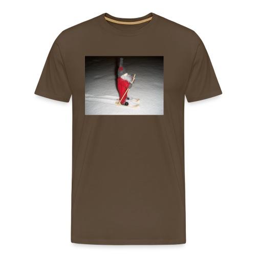 Joulutonttu hiihtämässä - Miesten premium t-paita