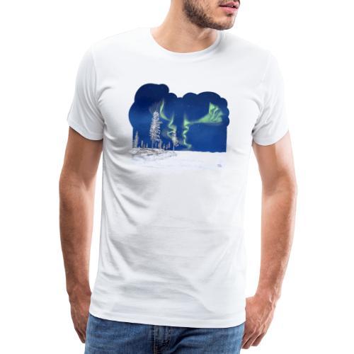 hiver avec des aurores boréales - T-shirt Premium Homme