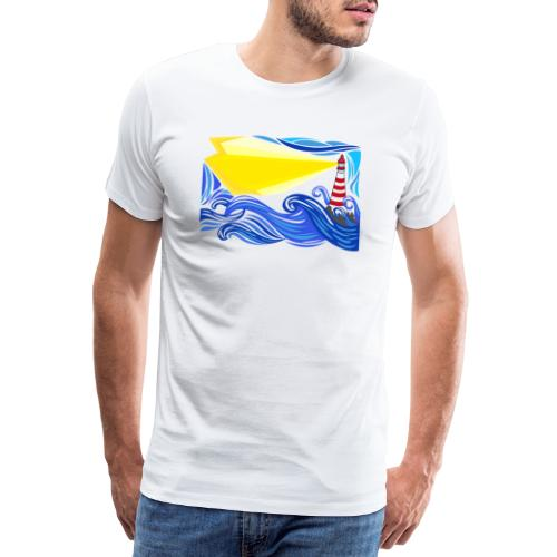 paesaggio marino con faro - Maglietta Premium da uomo