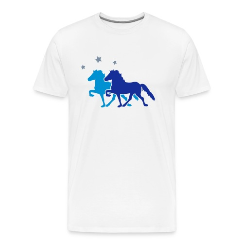 Two Horses with silver-metallic Stars - Men's Premium T-Shirt