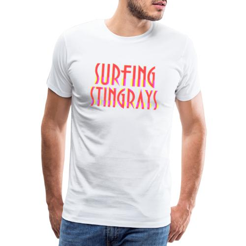Surfing stingrays rooie letters logo - Mannen Premium T-shirt