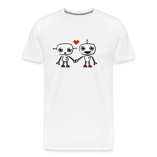 binary love red heart - Men's Premium T-Shirt
