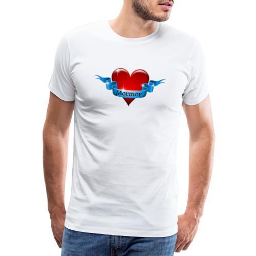 Mormor skrevet på blåt bånd om rødt hjerte - Herre premium T-shirt
