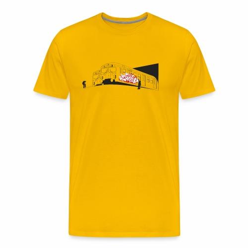 Throw up 2wear graffiti trains ver02 1 - Herre premium T-shirt