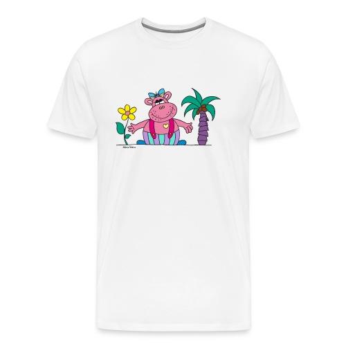 lustiges Nilpferd Sonnenblume Palme Hippo - Men's Premium T-Shirt