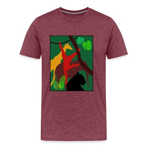 Dschungel - Panther-Affe-Elefant-Giraffe - Männer Premium T-Shirt