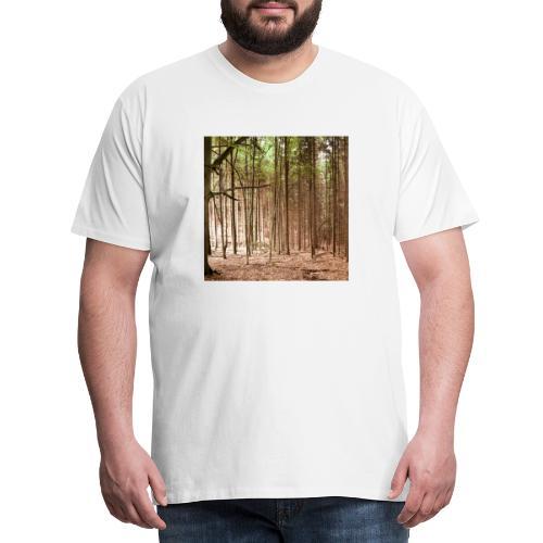 Wald Bäume Herbst Natur Waldidylle Waldleben - Männer Premium T-Shirt