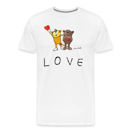 Janosch LOVE Schiftzug Tiger und Bär - Männer Premium T-Shirt