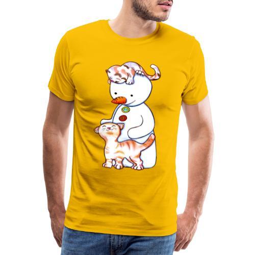 Deux petits chats et Jou le bonhomme de neige - T-shirt Premium Homme