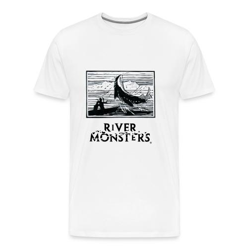 Fish On Horizon Woodcut - Men's Premium T-Shirt