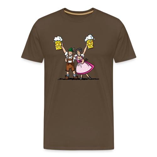 Fröhliches Oktoberfest Paar mit Bierkrug - Männer Premium T-Shirt