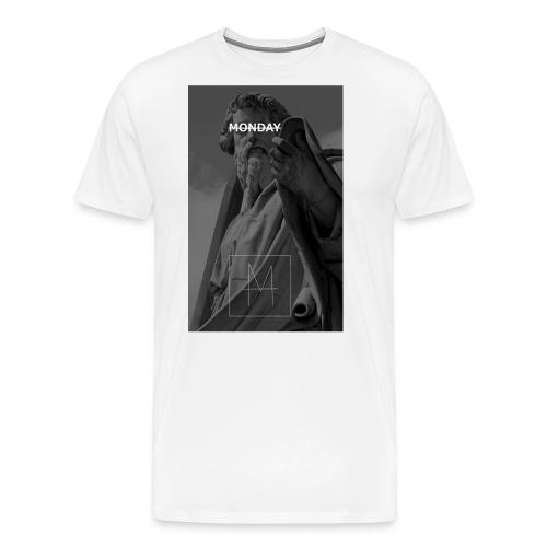 Statue Monday mit schrift 2 jpg - Männer Premium T-Shirt