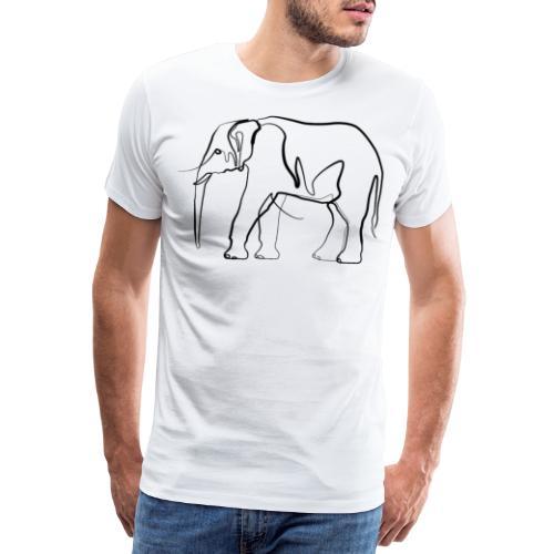 Elefant one-line drawing - Männer Premium T-Shirt
