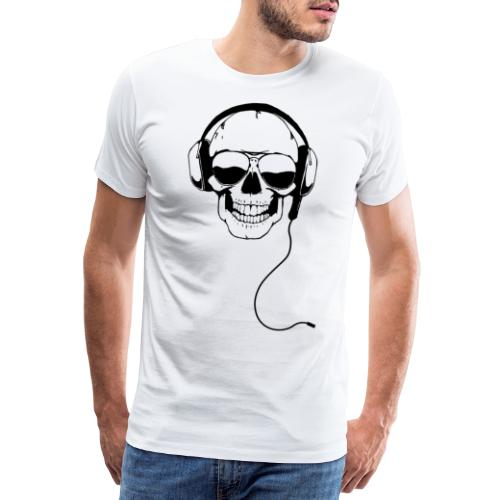Nerdpappan Custom - Earphone Skull - Premium-T-shirt herr