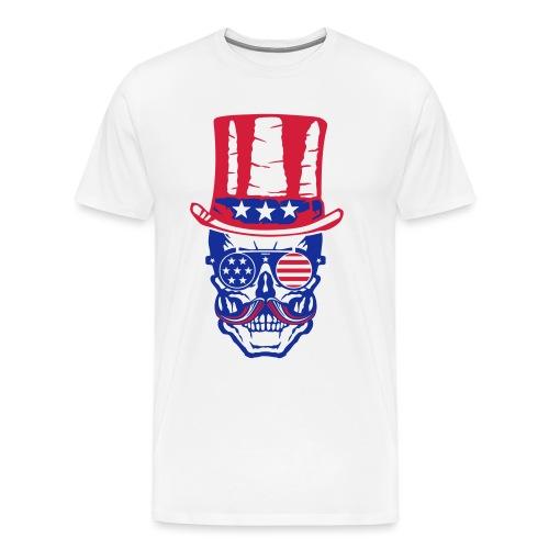 tete de mort hipster crane skull americaine chapea - T-shirt Premium Homme