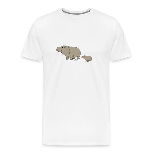 Hippo mit Baby - Männer Premium T-Shirt