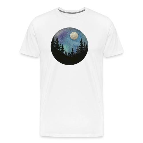Diseño Bosque nocturno con colores y luna llena - Camiseta premium hombre