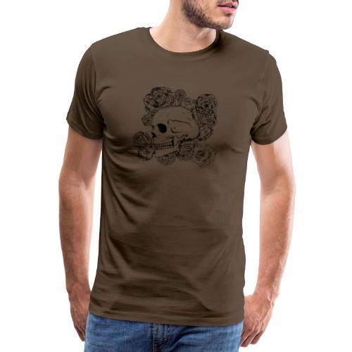 Teschio con fiori, disegno in inchiostro nero - Maglietta Premium da uomo
