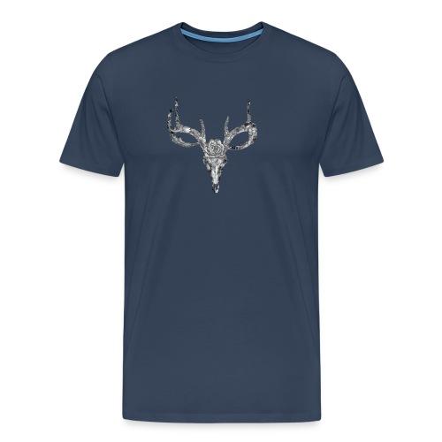 Deer skull with rose - Miesten premium t-paita