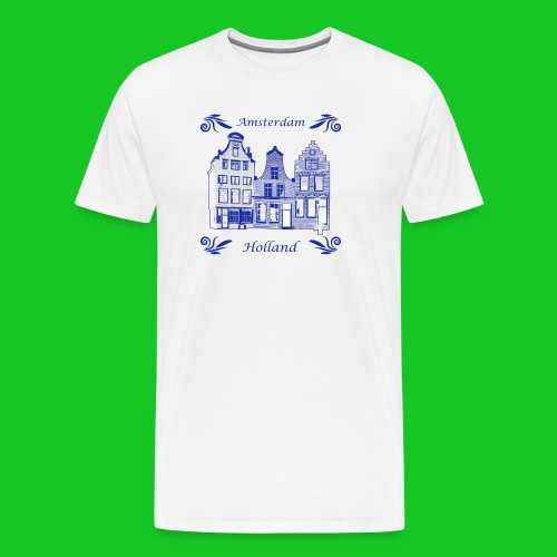 Holland Grachtenpanden Delfts Blauw - Mannen Premium T-shirt