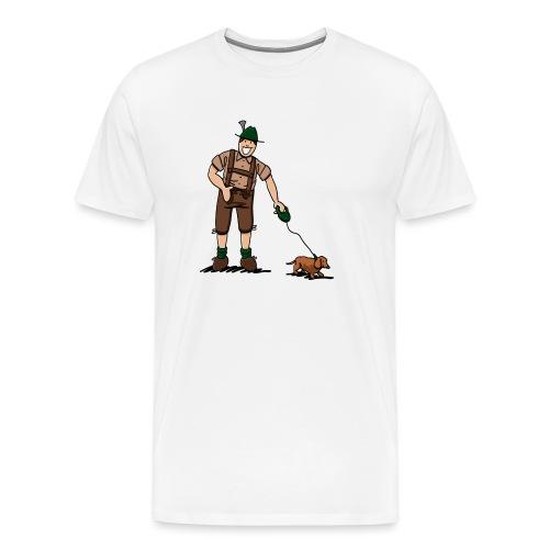 Bayer in Lederhosen mit Dackel - Männer Premium T-Shirt