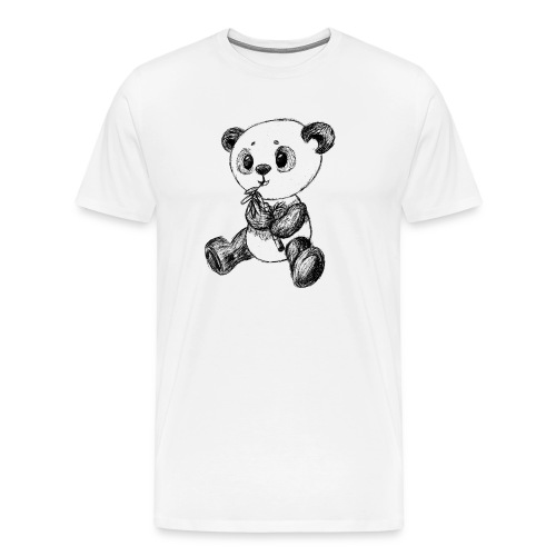 Panda bjørn sort scribblesirii - Herre premium T-shirt