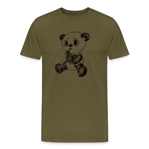 Panda Karhu musta scribblesirii - Miesten premium t-paita