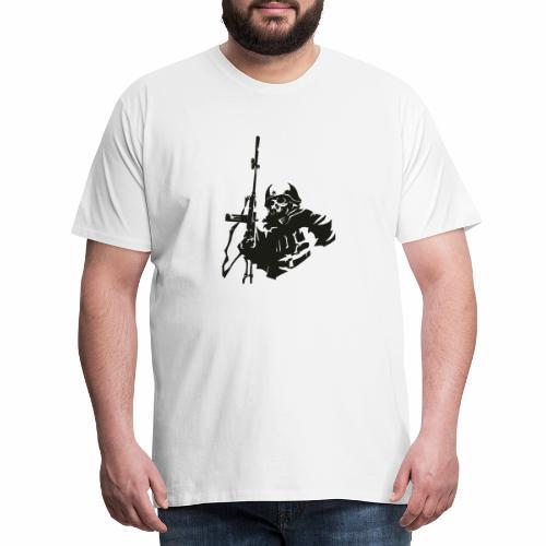 Soldier rifle helmet war World War II gear military - Men's Premium T-Shirt