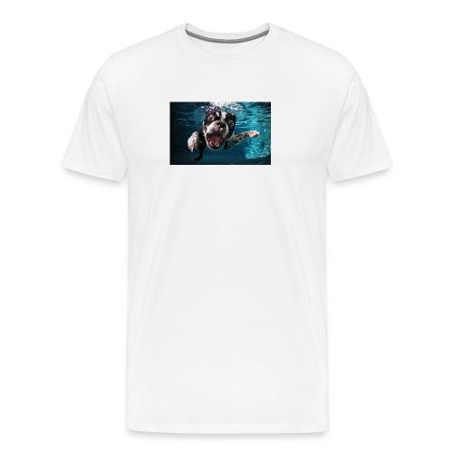 Svømmende hund - Premium T-skjorte for menn