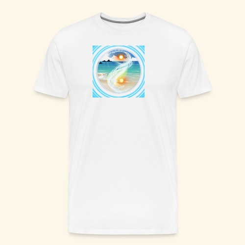 Yin Yang beach scene white - Men's Premium T-Shirt